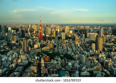Beautiful aerial view of Tokyo at sunset seen from Mori Tower Observation deck. Tokyo, Japan, August 2019