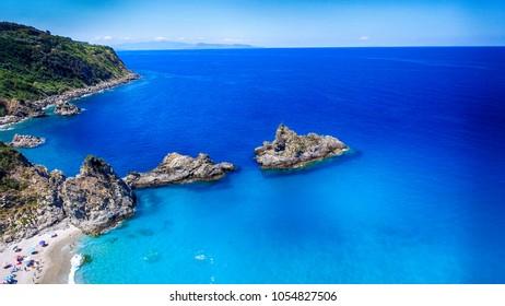 Beautiful aerial view of Tonnara Beach, Calabria.