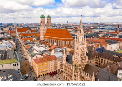 Beautiful aerial view  of the town Hall (Rathaus) in Marienplatz, Munich, Germany