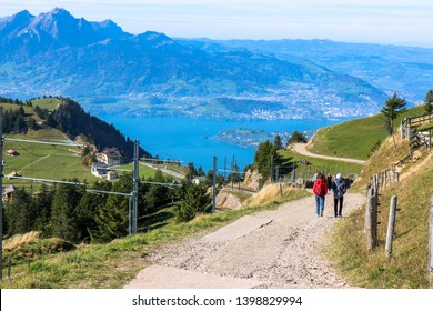 beautiful aerial view Travel up Rigi mountain of the Pilatus above the clouds from top of Rigi mountain in Lucerne, Switzerland