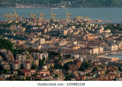 Beautiful aerial view of Trieste at sunset, Friuli Venezia Giulia, Italy