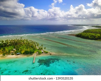 beautiful aerial view of a tropical atoll in the Marshall Islands
