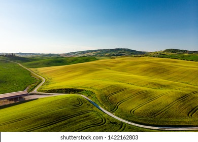 Beautiful aerial view of Tuscany Hills, Italy in spring.