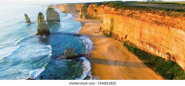 Beautiful aerial view of Twelve Apostles along Victoria coast, Australia.