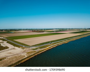 Beautiful aerial view of the Zeewolde, Netherlands from the coast.