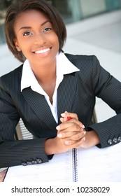 A beautiful african american business woman at work