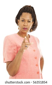 Beautiful African American businesswoman angrily shaking her finger at you.  Isolated on white.