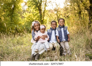 Beautiful African American Children Portrait Outdoors