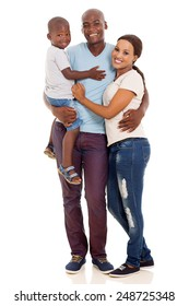 beautiful african american family isolated on white background
