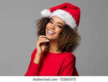 Beautiful african american female model wear santa hat