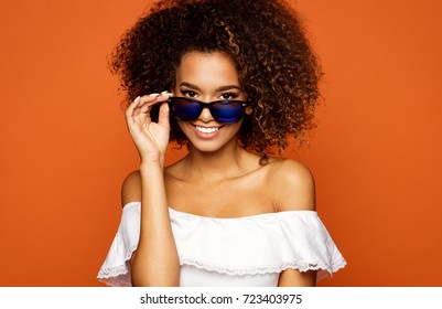 Beautiful african american female model wear sunglasses