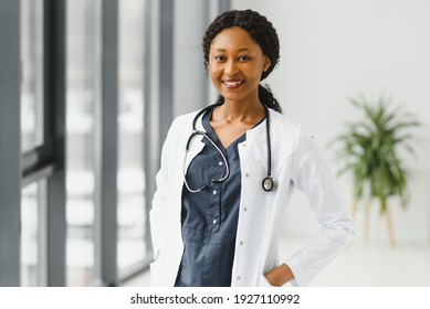 beautiful african american nurse with arms folded