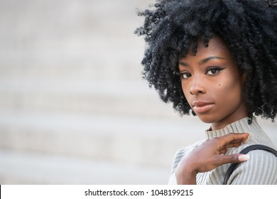 Beautiful African American Woman with Black Curly Hair