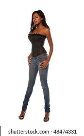 Beautiful african american woman in a corset