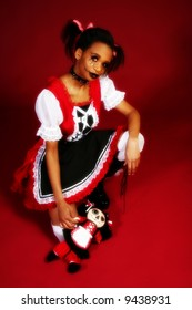 Beautiful African American woman dressed as Anime Goth Doll.