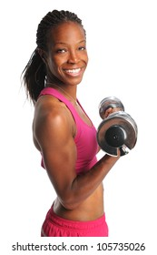 Beautiful African American woman lifting dumbbells isolated over white background