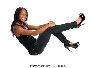 Beautiful African American woman sitting isolated over white background