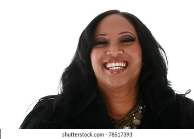 A beautiful african american woman smiles. Isolated on white with room for your text