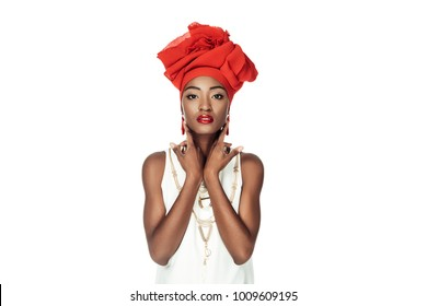 beautiful african american woman in wire head wrap isolated on white