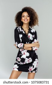 Beautiful african american young female model smiling