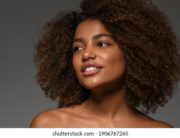 Beautiful african black skin woman happy smile face portrait