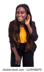 Beautiful african business woman asking for you to speak louder, isolated over white