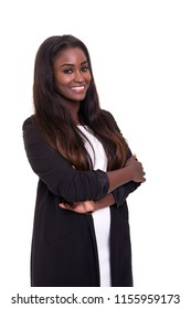 Beautiful african business woman posing isolated over white background