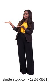 Beautiful african business woman presenting your product, isolated over white