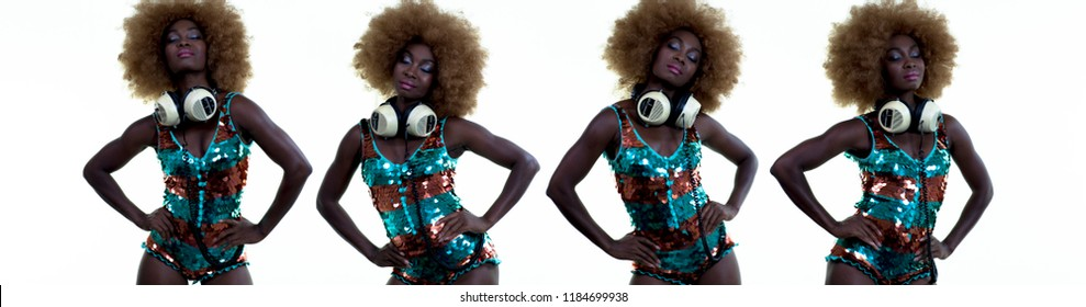 beautiful african female model in large afro wig dancing in white lingerie and headphones. multiple instances of the same model used to make cool sequence