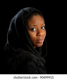 Beautiful African Ghanese woman in melancholic mood