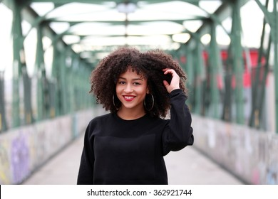 Beautiful African girl with curly hair