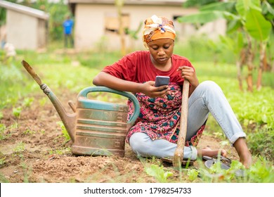 beautiful African lady with head scarf, plastic container, sitting on the ground-landscape image of Black woman in a greenfield with smart phone-farming concept