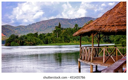 Beautiful African landscape with water and hills in background. West Africa. Vintage image. Sweet memories about travel. Everything for your vacation and relax in remote areas Stunning African nature