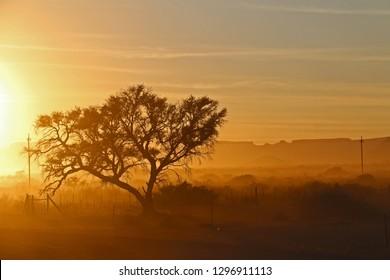 Beautiful African sunrise in Namibia near Gondwana Namib Desert Lodge