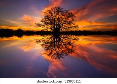 Beautiful African sunset reflected in wate