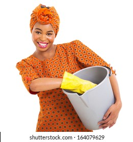 beautiful african woman with cleaning tools isolated on white