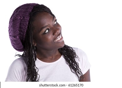 beautiful african woman looking to the copy space (isolated on white)