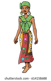 Beautiful African woman wearing a fashionable outfit of traditional kanga cloths