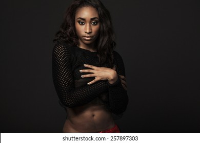 Beautiful African-American fashion model with long curly hair.