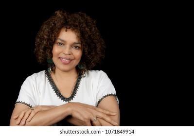 Beautiful Afro American Woman On Black