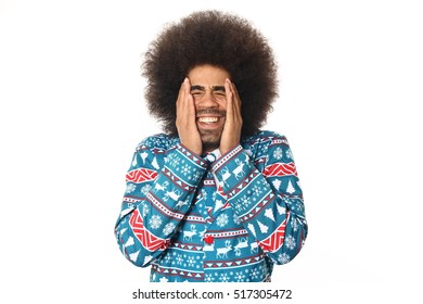 Beautiful afro christmas man