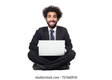 Beautiful afro man sitting