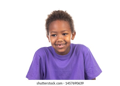 Beautiful Afro-American boy isolated on a white background