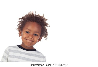 Beautiful Afro-American boy laughing isolated on a white background