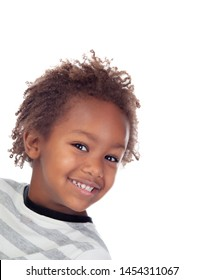 Beautiful Afro-American child isolated on a white background
