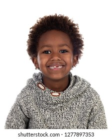 Beautiful Afro-American child without some teeth isolated on a white background