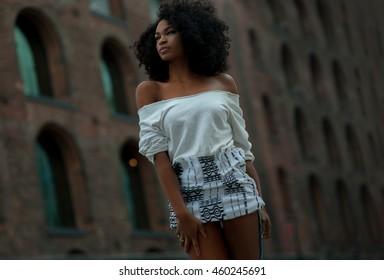 Beautiful afro-american girl in vintage Brooklyn bridge area