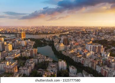 Beautiful afternoon over Dhaka city skyline