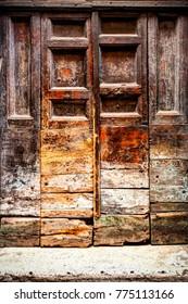 Beautiful Aged Wooden Doorway Vista In Rome Italy Europe