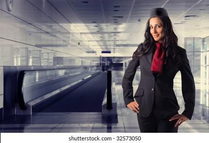 beautiful air Hostess in an airport